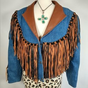 Vintage denim & fringed leather jacket beaded XL
